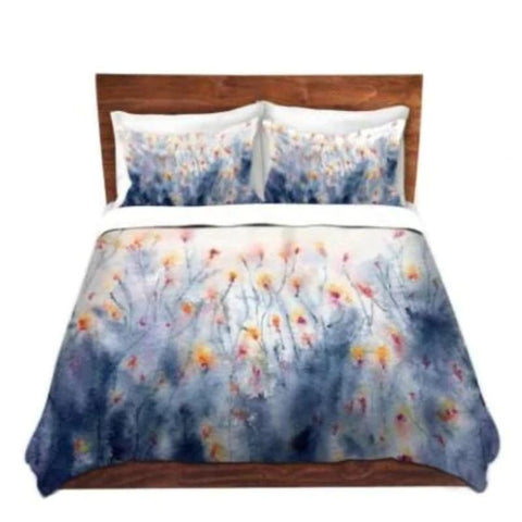Designer Dog Bed  - Coneflower Floral Watercolor Painting - Fleece Cotton Cover