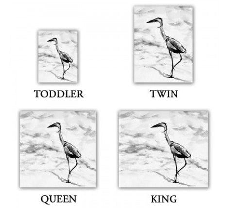 Duvet Set Crane Bird Painting - Nature Modern Bedding - Queen Size Duvet Cover - King Size Duvet Cover - Brazen Design Studio