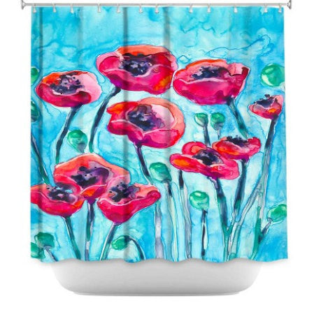 Shower Curtain Poppies Floral Painting - Artistic Bathroom - Colorful Modern Peaceful Bathroom Decor - Brazen Design Studio