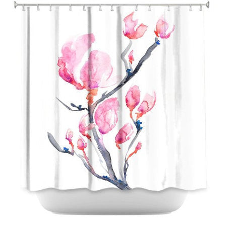 Shower Curtain Japanese Magnolia Floral Painting - Artistic Bathroom - Colorful Modern Vibrant Bathroom Decor - Brazen Design Studio