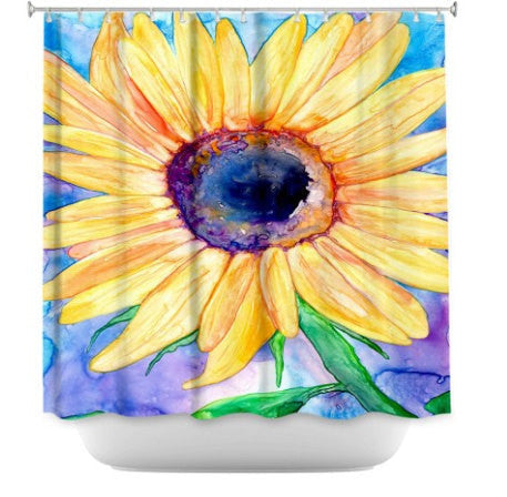 Shower Curtain Sunflower Floral Painting - Artistic Bathroom - Colorful Modern Peaceful Bathroom Decor - Brazen Design Studio