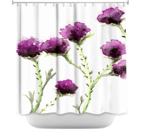 Shower Curtain Milk Thistle Floral Painting - Artistic Bathroom - Colorful Modern Peaceful Bathroom Decor - Brazen Design Studio