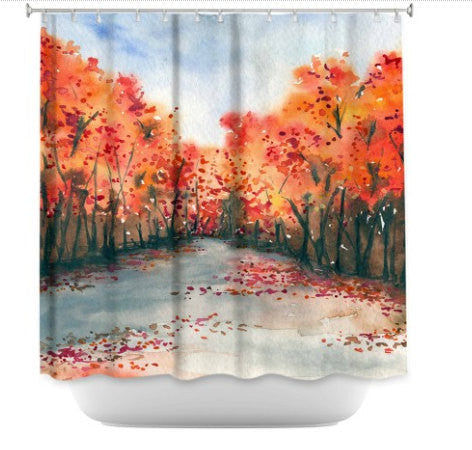 Shower Curtain Autumn Landscape Painting - Artistic Bathroom - Colorful Modern Vibrant Bathroom Decor - Brazen Design Studio