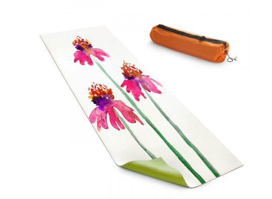 Yoga Mat Echinacea Coneflower Floral Watercolor Painting - Exercise Mat - Brazen Design Studio