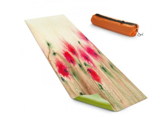 Yoga Mat Poppies Floral Watercolor Painting - Exercise Mat - Brazen Design Studio