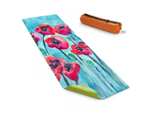 Yoga Mat Poppy Sky Floral Watercolor Painting - Exercise Mat - Brazen Design Studio
