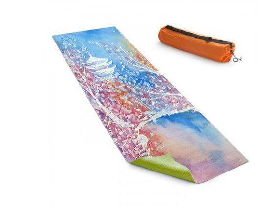 Yoga Mat Japanese Temple Cherry Blossoms Floral Watercolor Painting - Exercise Mat - Brazen Design Studio