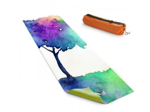 Yoga Mat Hue Tree Rainbow Watercolor Painting - Exercise Mat - Brazen Design Studio
