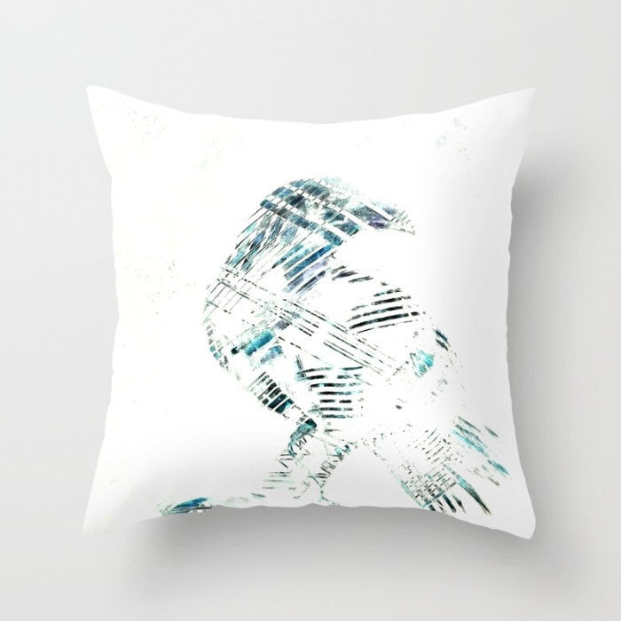 Decorative Pillow Cover - Abstract Art Nevermore Raven - Throw Pillow Cushion - Home Decor - Brazen Design Studio