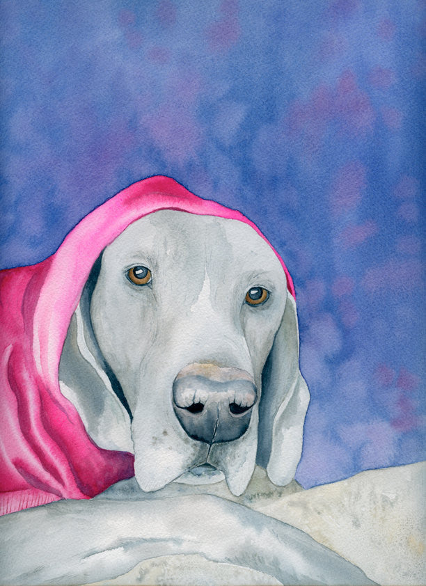 Weimaraner in a Hot Pink Hoodie Dog Print - Pet Portrait Watercolor Painting - Art Print - Brazen Design Studio
