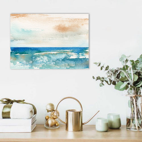 Art Print - Sunny Days Abstracted Seascape - Watercolor Painting