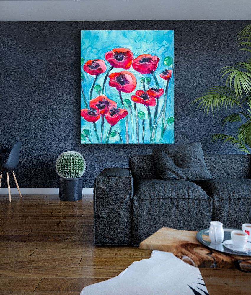 Artistic Poppies Floral Watercolour Painting - Red Flowers - Archival Art Print - Brazen Design Studio
