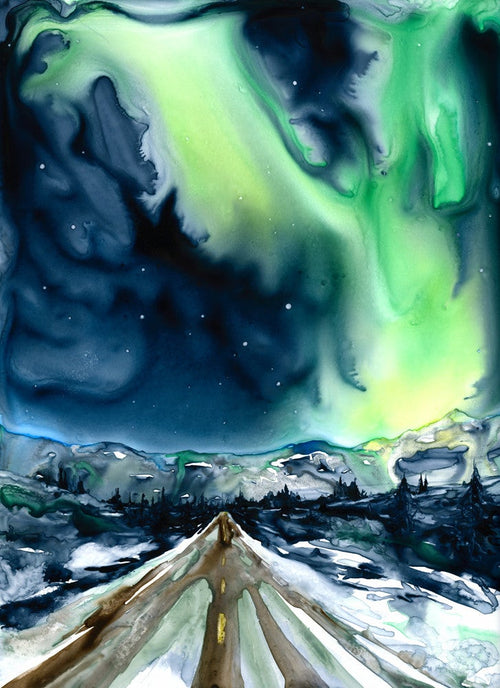 Aurora Borealis - Original Watercolor Painting on Yupo