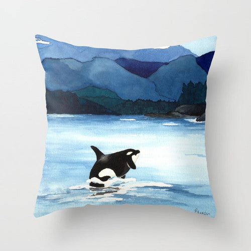 Orca Pillow Cover - Ocean Life - Throw Pillow Cushion - Fine Art Home Decor