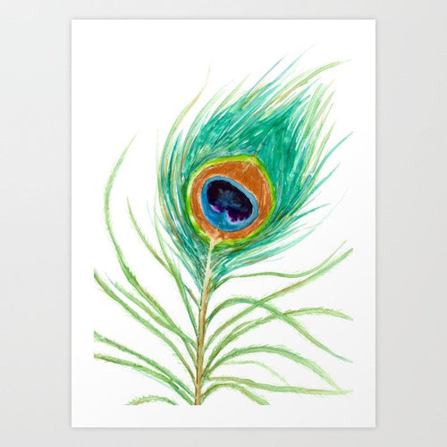 Watercolor Painting - Peacock Feather Art Print - Canvas or Paper Print - Brazen Design Studio