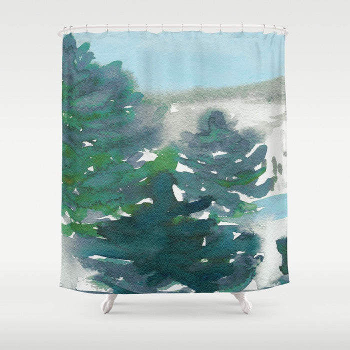 Winter Tale Shower Curtain Watercolor Painting - Artistic Bathroom Decor