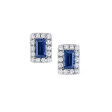 Load image into Gallery viewer, Baguette Sapphire and Diamond Studs