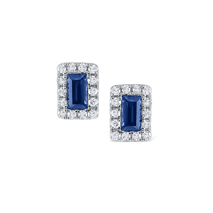 Baguette Sapphire and Diamond Studs
