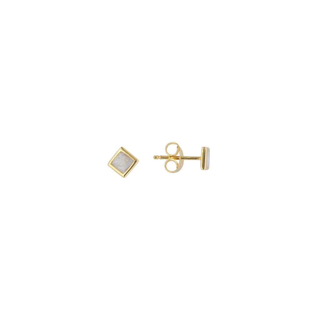 Square Pearl Enamel Stud (Single)