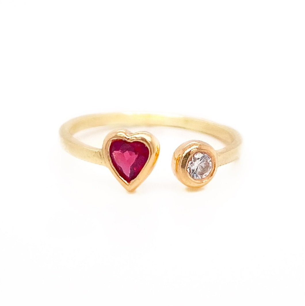 Open Heart Gemstone Ring
