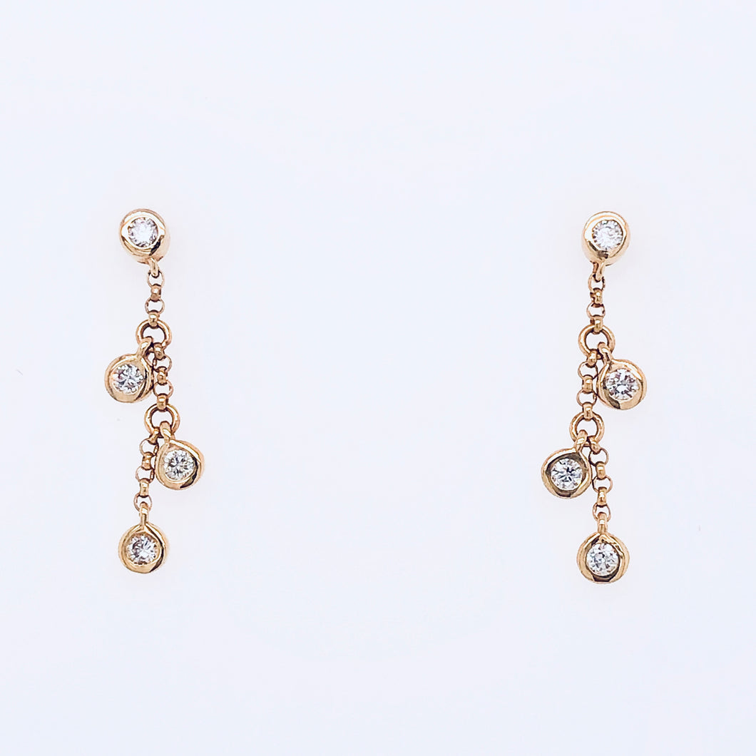 Diamond Bezel Dangle Studs