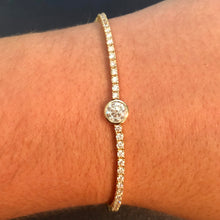 Load image into Gallery viewer, Tennis Bracelet with Bezel Diamond