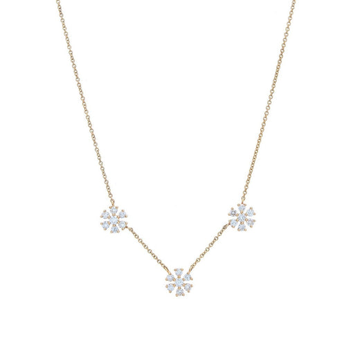 Triple Diamond Flower Necklace