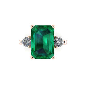 Emerald Ring with Side Pear Diamonds