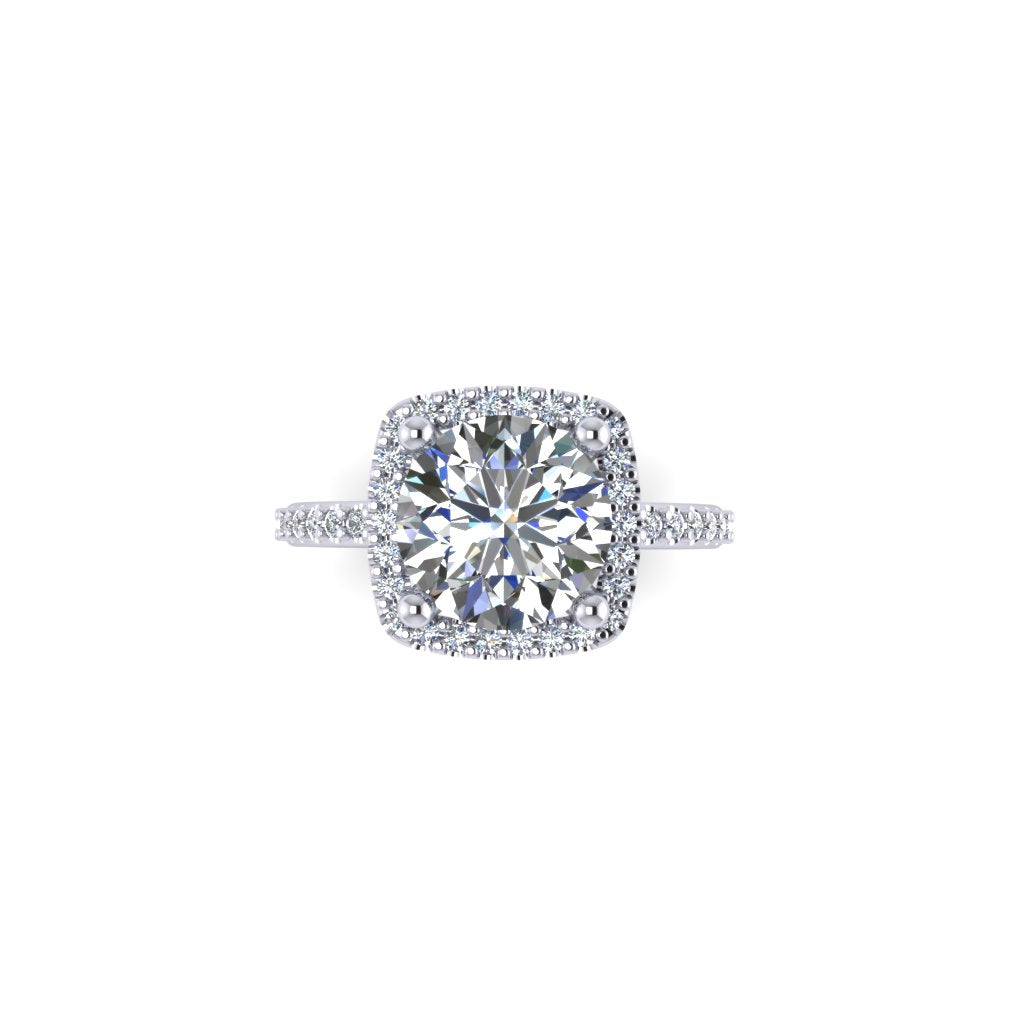 Round Diamond with Cushion Halo
