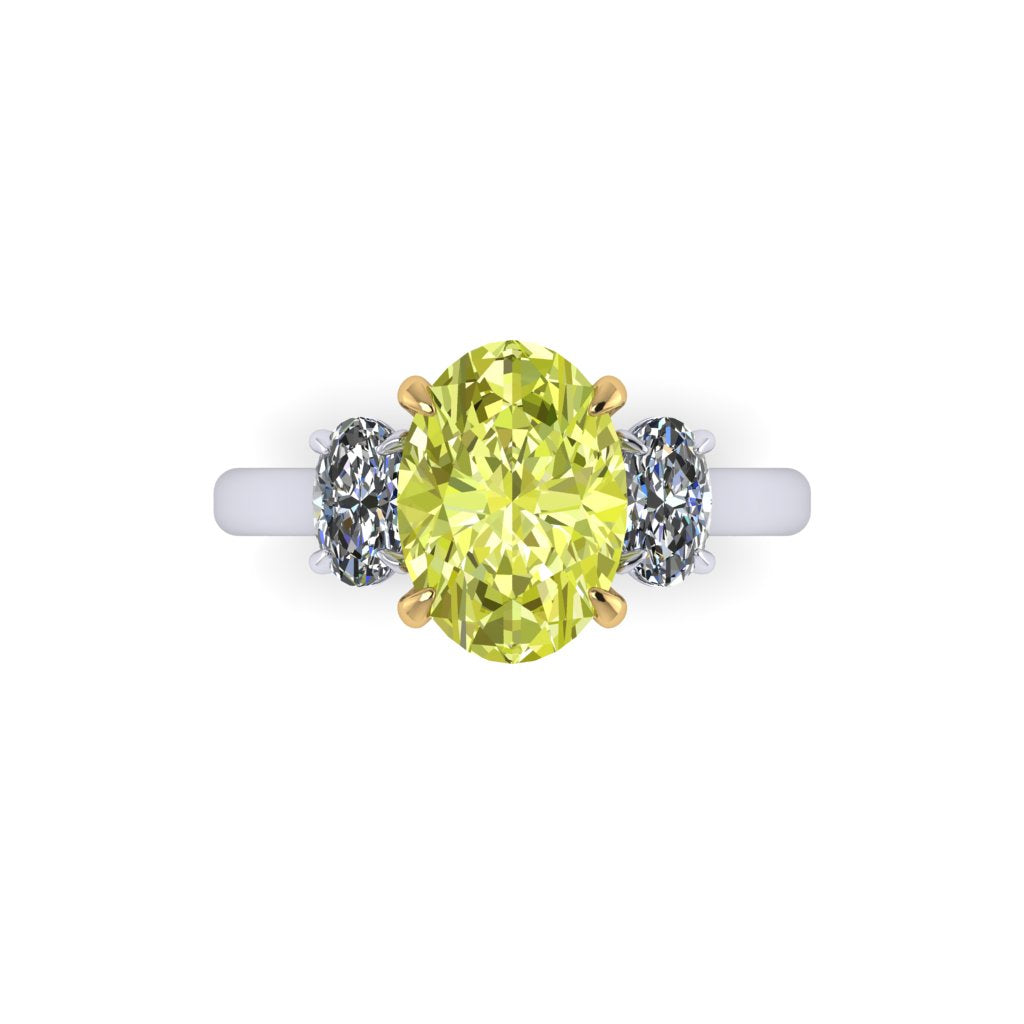 Canary Three Stone Ring