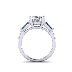 Round Diamond Ring with Tapered Baguettes