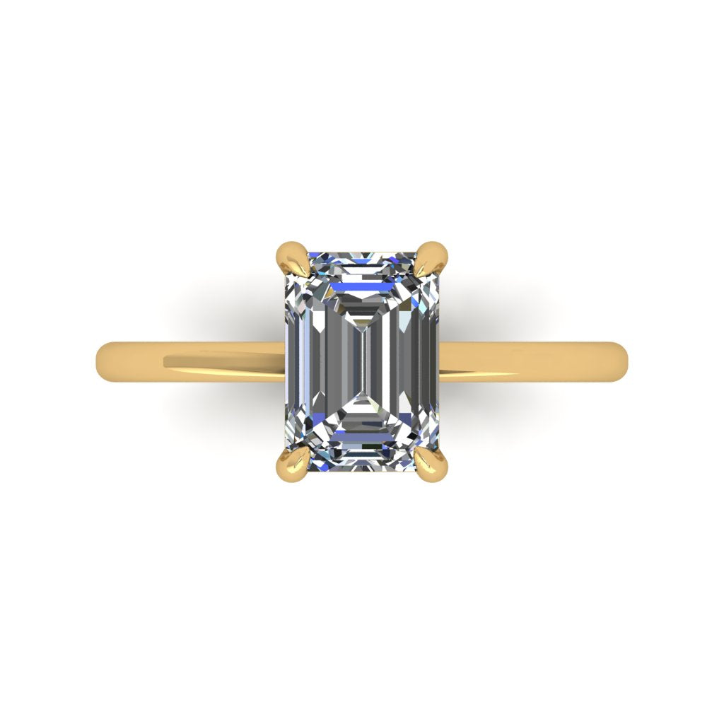 Emerald Cut on Dainty Band