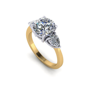 Round Diamond Ring with Side Pears
