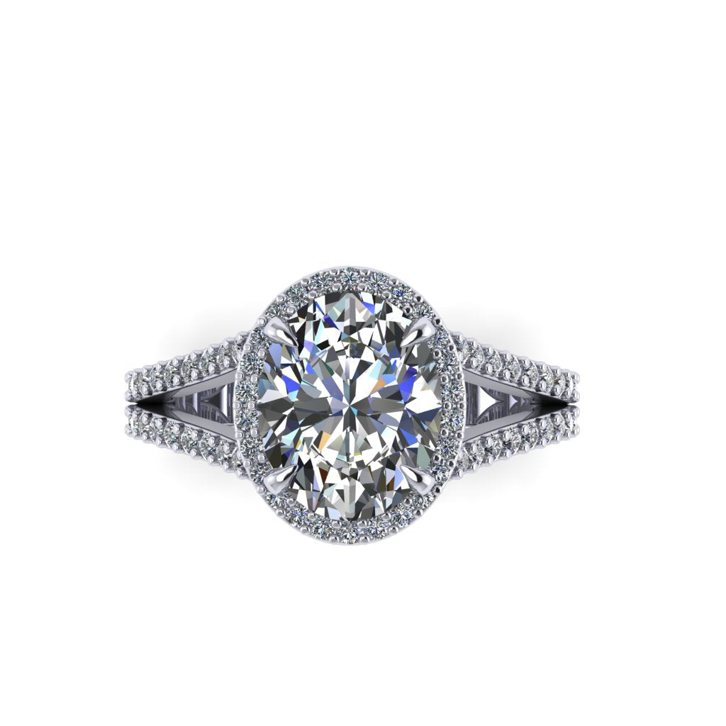 Oval Diamond with Split Shank