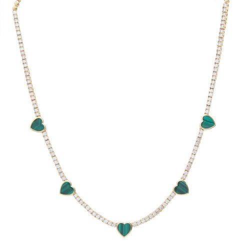 Diamond & Malachite Heart Necklace