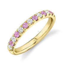 Load image into Gallery viewer, Pink Sapphire and Diamond Halfway Band