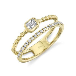 Bezel Diamond Bead Ring