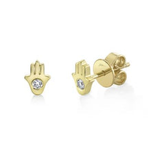 Load image into Gallery viewer, Petite Diamond Hamsa Studs