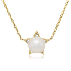 Diamond and Pearl Star Necklace