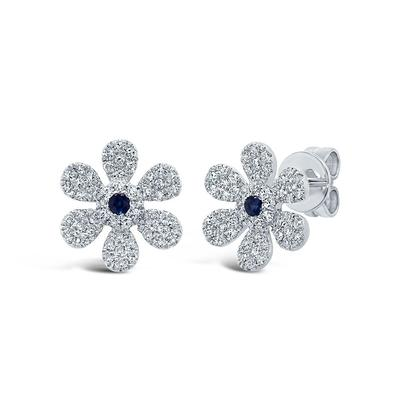 Diamond and Sapphire Flower Studs