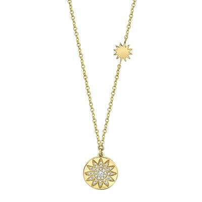 Pave Sunflower Disc Necklace
