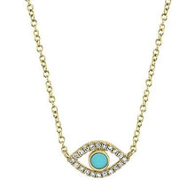 Load image into Gallery viewer, Petite Turquoise Evil Eye Necklace