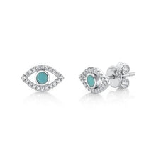 Load image into Gallery viewer, Turquoise Evil Eye Studs