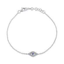 Load image into Gallery viewer, Diamond & Sapphire Evil Eye Bracelet
