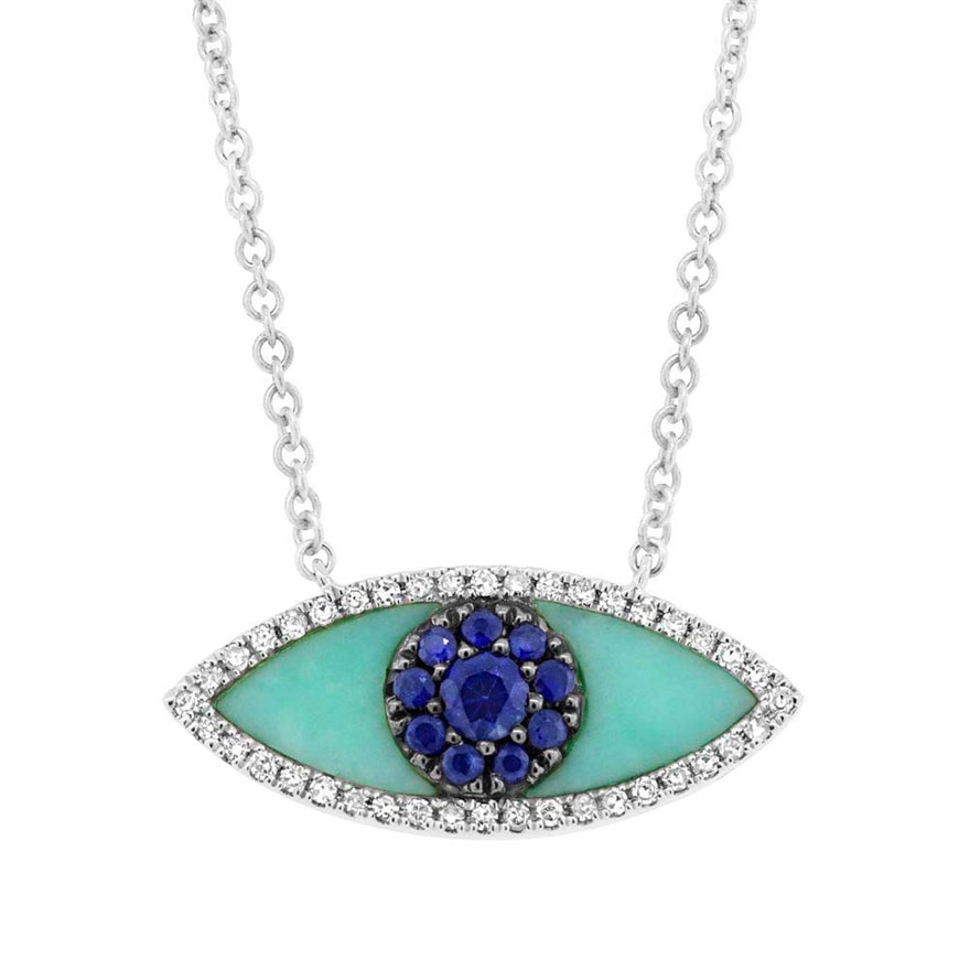 Turquoise Diamond and Sapphire Evil Eye Necklace
