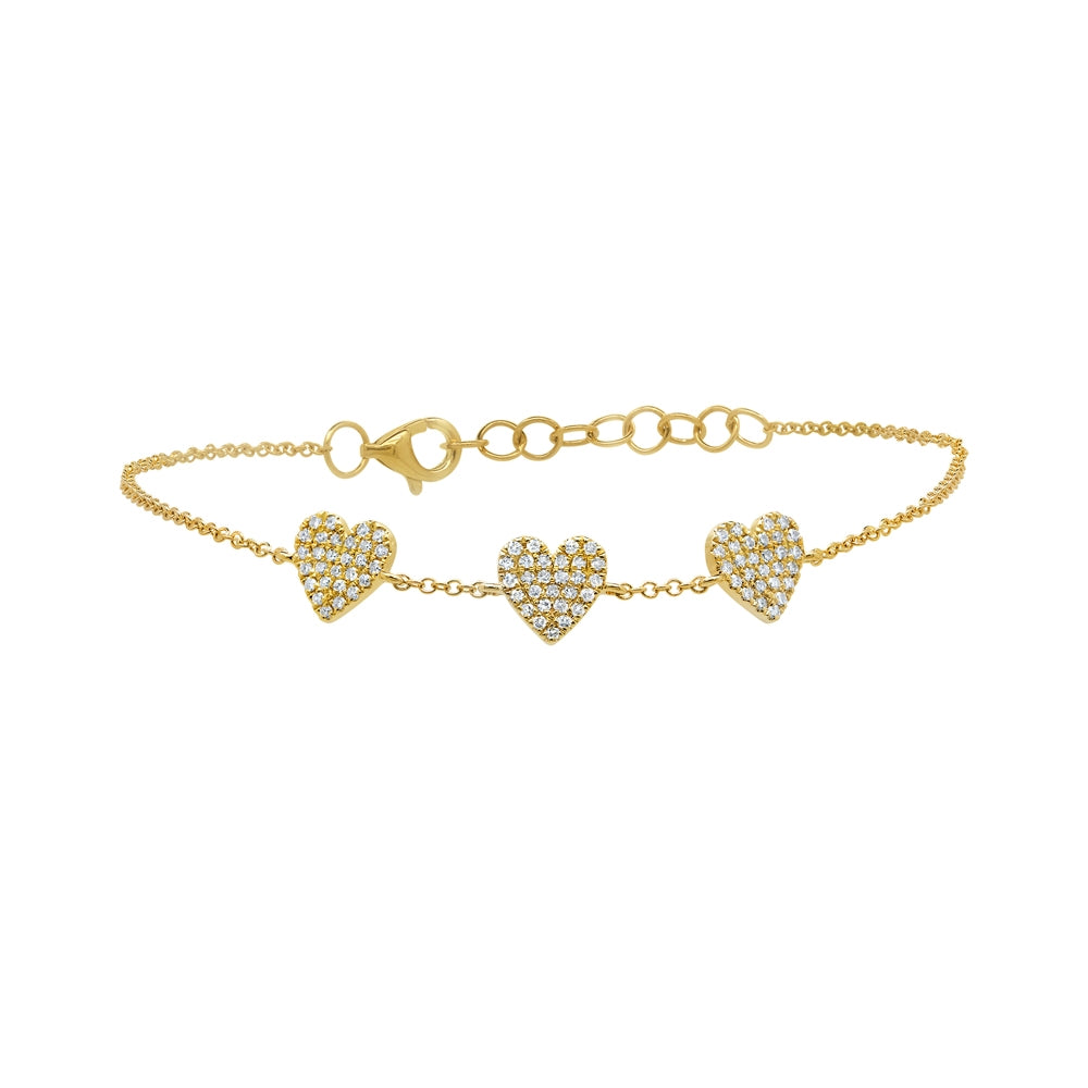 Pave Heart Station Bracelet