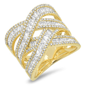 Double Baguette Cross Over Ring
