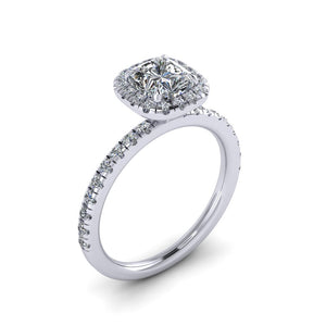 Cushion Cut Halo Ring