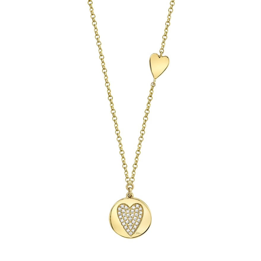 Pave Heart Disc Necklace