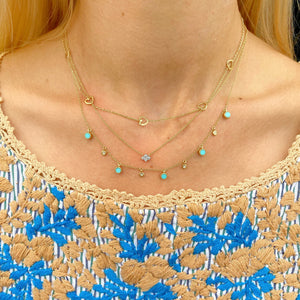 Turquoise and Diamond Bubble Necklace